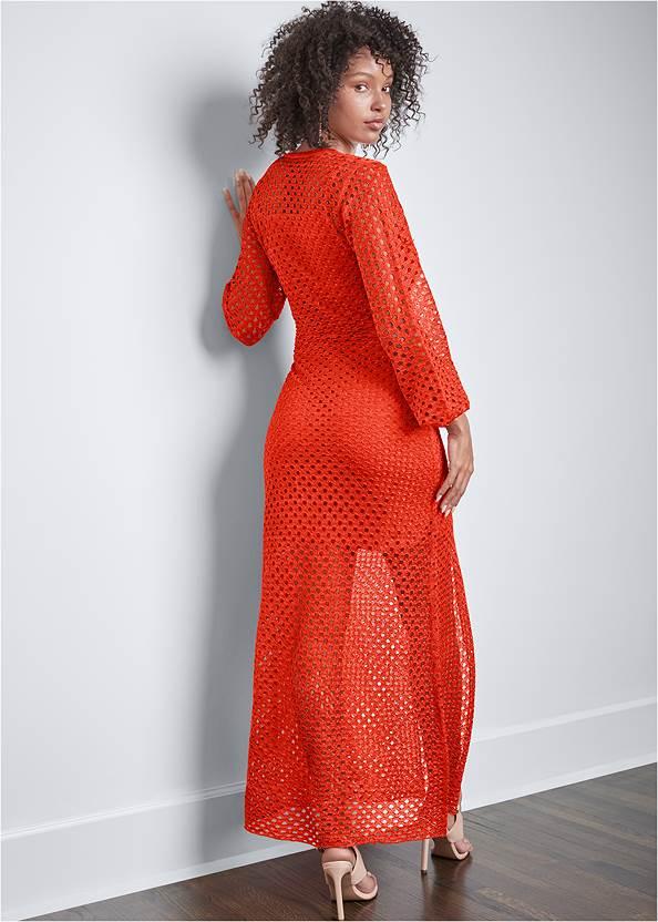 Full back view Open Knit Maxi Sweater Dress