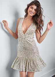 Front View Sequin Halter Mini Dress