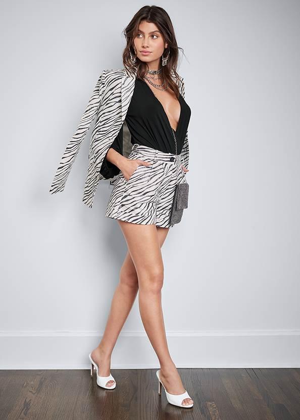 Zebra Print Shorts,Belted Zebra Print Blazer,Peep Toe Mules,Tassel Hoop Earrings