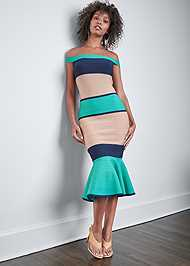 Full front view Color Block Bandage Dress