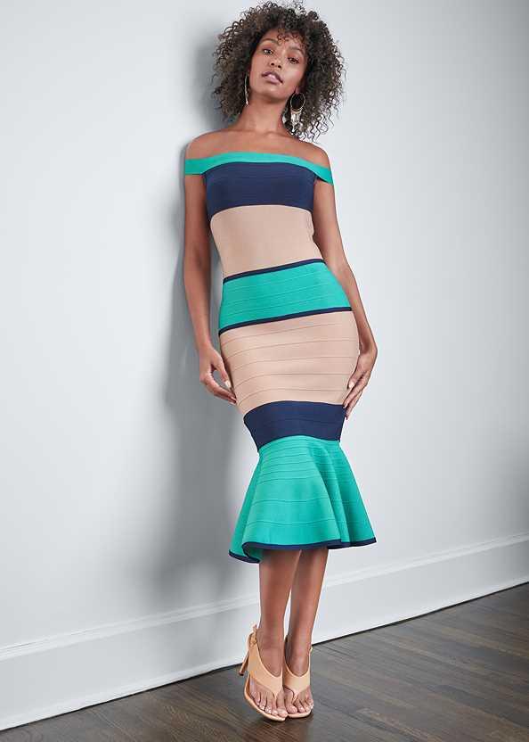 Color Block Bandage Dress,Tassel Hoop Earrings