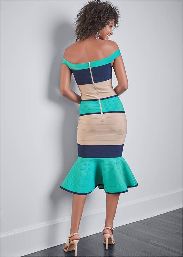 Full back view Color Block Bandage Dress