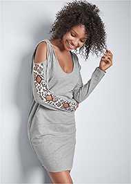 Front View Leopard Cut-Out Lounge Dress