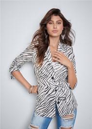 Front View Belted Zebra Print Blazer