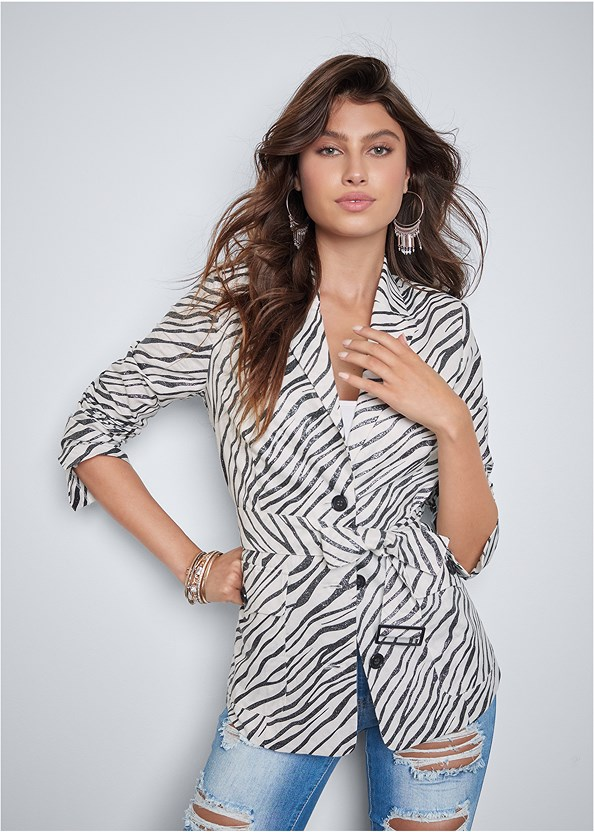 Belted Zebra Print Blazer,Basic Cami Two Pack,Ripped Capri Jeans,Multi Strap Ankle Wrap Heel,Tassel Hoop Earrings,Quilted Handbag With Charm
