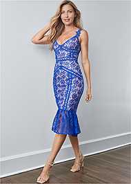Full front view Lace Midi Bodycon Dress