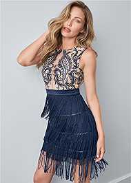 Cropped front view Embroidered Fringe Dress