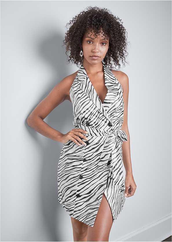 Zebra Print Blazer Dress,Beaded Fringe Medallion Earrings