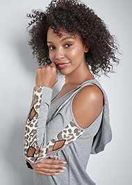 Alternate View Leopard Cut-Out Lounge Dress