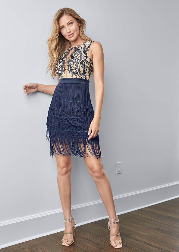 Full front view Embroidered Fringe Dress