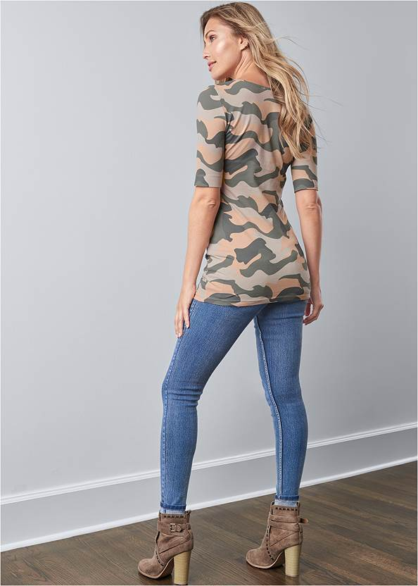 Back View Long And Lean V-Neck Tee