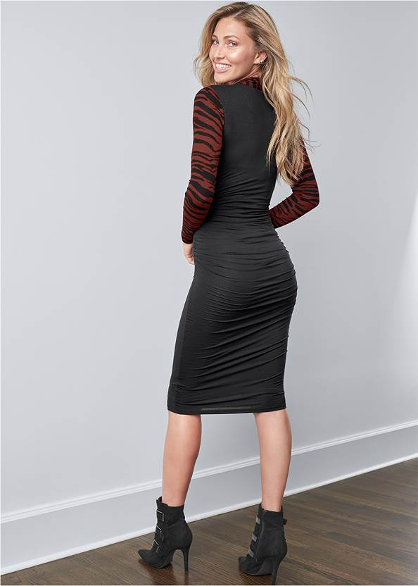 Full back view Dress With Faux Shrug