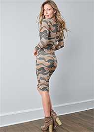 Full back view Ruched Long Sleeve Dress