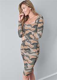 Cropped front view Ruched Long Sleeve Dress