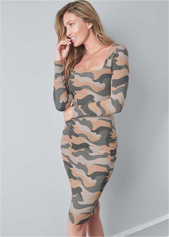 Ruched Long Sleeve Dress,Seamless Unlined Bra