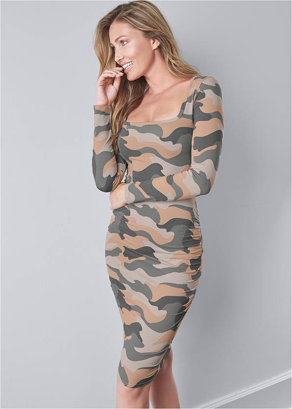 Ruched Long Sleeve Dress,Wrap Stitch Detail Booties,Peep Toe Booties,Raffia Hoop Earring Set,Studded Round Crossbody