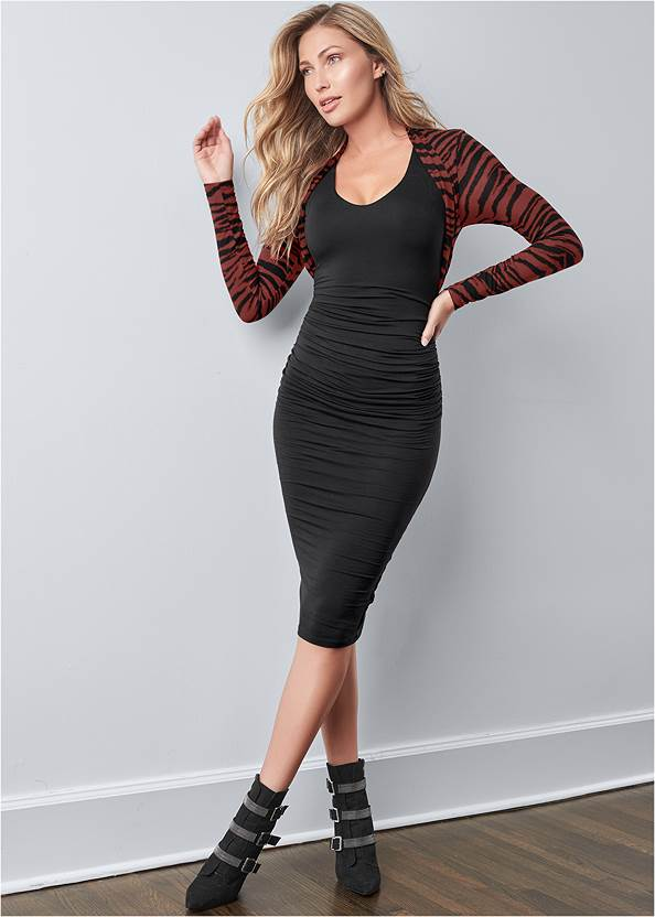 Dress With Faux Shrug,Kissable Convertible Bra