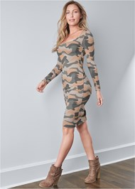 Full front view Ruched Long Sleeve Dress