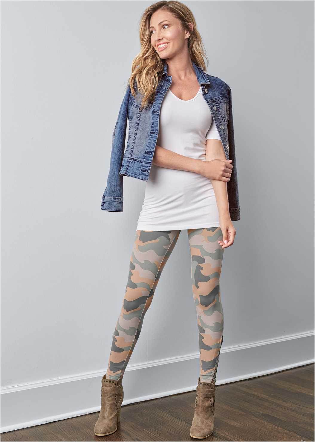Ankle Detail Leggings,Long And Lean V-Neck Tee,Jean Jacket