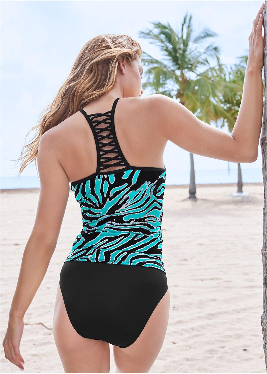 Strappy Back Tankini Top,Mid Rise Hipster Classic Bikini Bottom