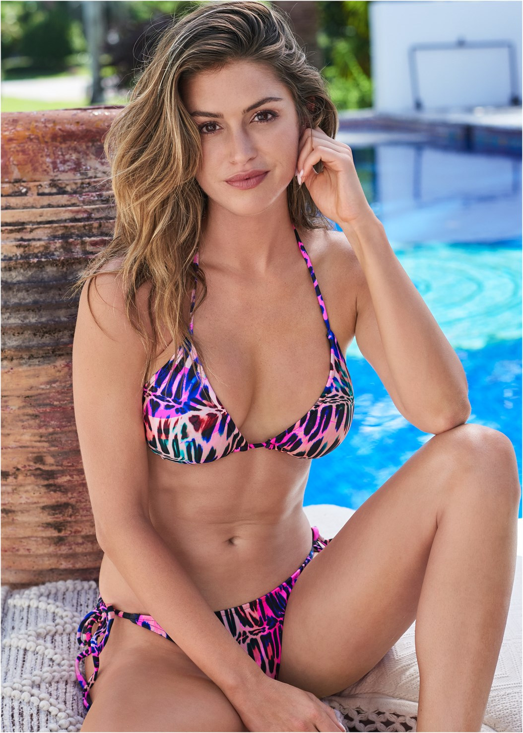 String Side Bikini Bottom,Triangle String Bikini Top