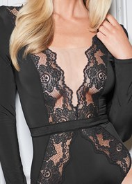 Detail front view Long Sleeve Lace Bodysuit