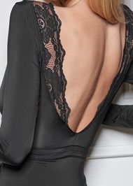 Detail back view Long Sleeve Lace Bodysuit