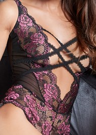 Detail front view Strappy Plunge Bodysuit