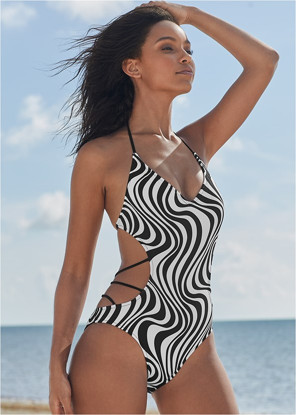 Spellbound Monokini,Pleated Cover-Up Pant,Long Wrap Cover-Up Dress,Comfort Rhinestone Sandals,Raffia Detail Bag
