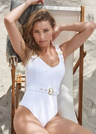 Front View Belted Strap One-Piece