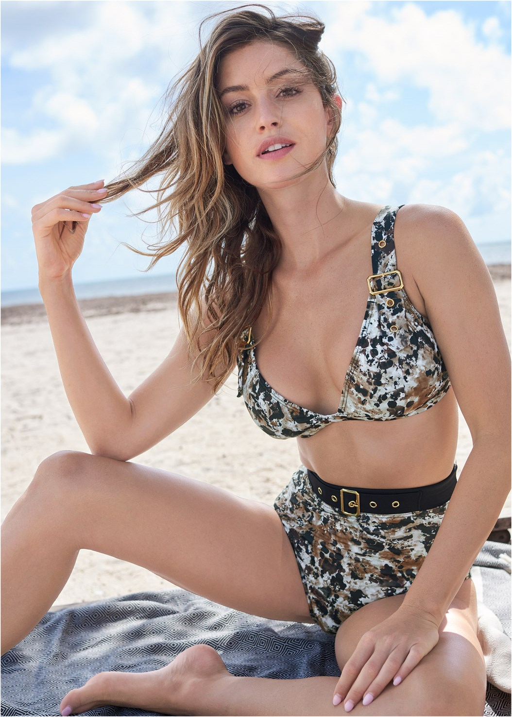 Jet Set High Waist Bottom,Jet Set Belted Triangle Top,Jet Set Belted Tankini Top,Marilyn Underwire Push Up Halter Top,Deep V Cover-Up Tunic