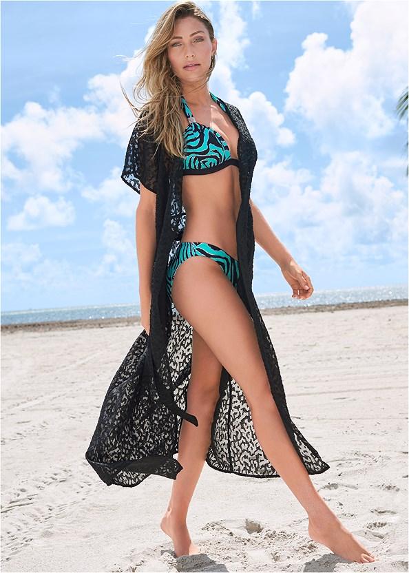 Long Wrap Cover-Up Dress,Goddess Enhancer Push Up Halter Top,Triangle String Bikini Top,Scoop Front Classic Bikini Bottom ,String Side Bikini Bottom