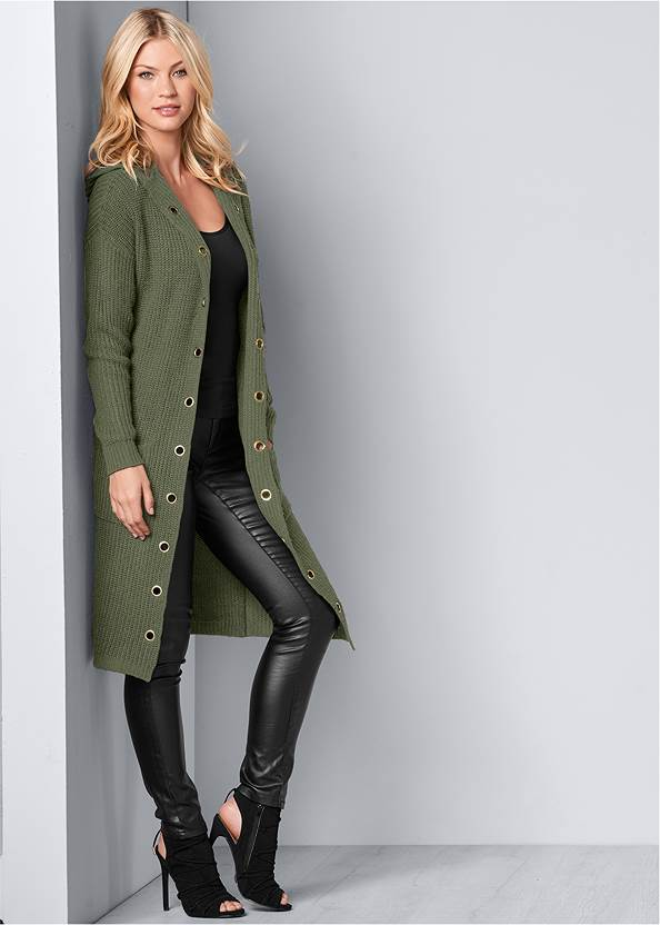 Grommet Detail Duster,Basic Cami Two Pack,Faux Leather Pants,Mid Rise Slimming Stretch Jeggings