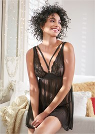 Cropped front view Mesh And Lace Babydoll