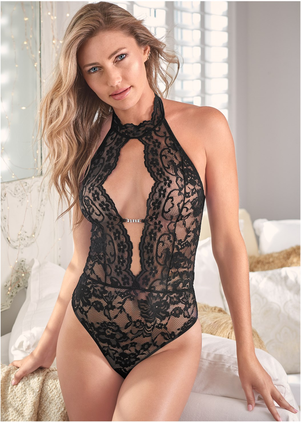 Deep Plunge Lace Bodysuit