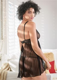 Back View Mesh And Lace Babydoll