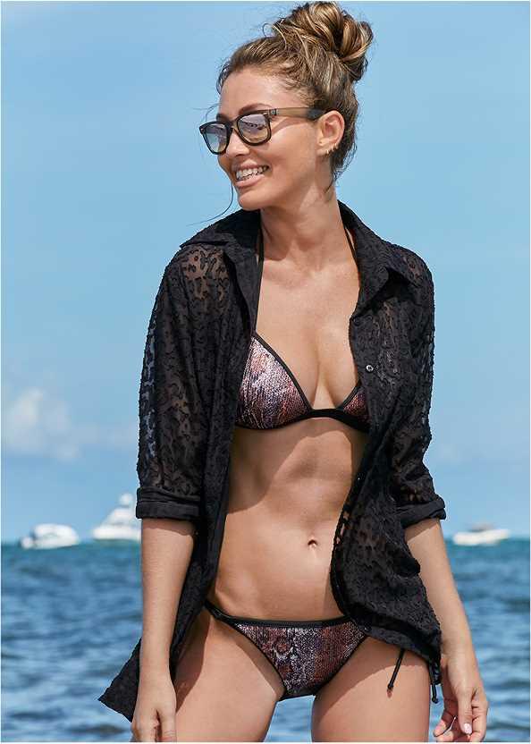 Button Cover-Up Shirt,Enhancer Push Up Triangle Top,Sequin String Bikini Bottom