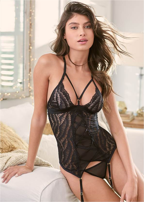 Alternate View Strappy Lace Mesh Chemise