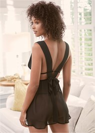 Cropped back view Gathered Chiffon Babydoll