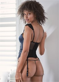 Cropped back view Satin And Lace Bustier