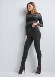 Full Front View Lace Long Sleeve Bodysuit