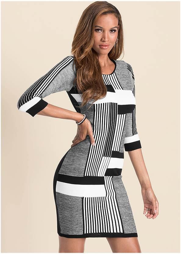 Color Block Sweater Dress,Pearl By Venus® Perfect Coverage Bra,Stretch Back Boots,Tassel Hoop Earrings,Rhinestone Clutch