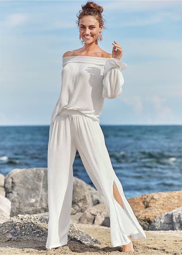 Off Shoulder Cover-Up Top,Enhancer Triangle Top ,Scoop Front Classic Bikini Bottom ,Slimming Bandeau One-Piece