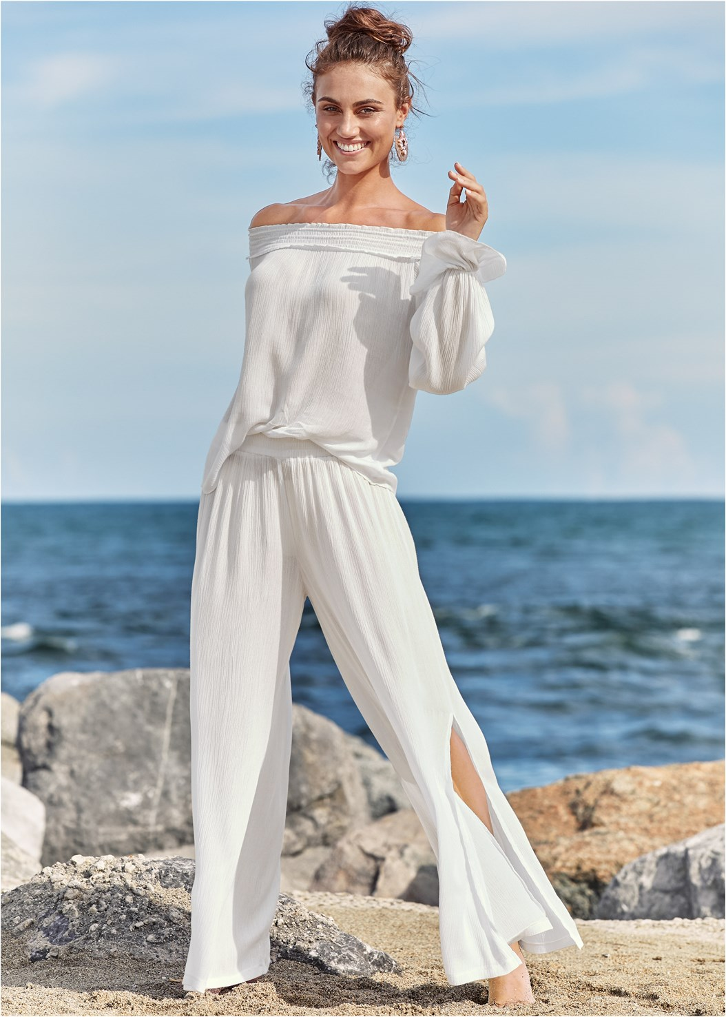 Side Slit Cover-Up Pant,Off Shoulder Cover-Up Top,V Front Bandeau Top,High Waist Moderate Bottom,Belted Strap One-Piece,Strappy Toe Ring Sandals,Faux Leather Jewel Earring