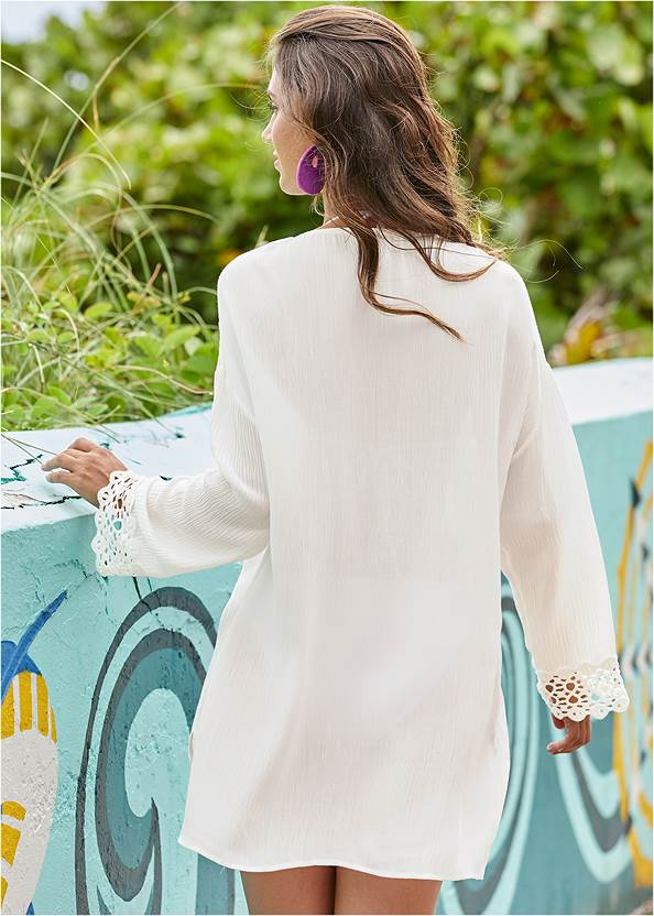 Back View Crochet Trimmed Cover-Up Tunic