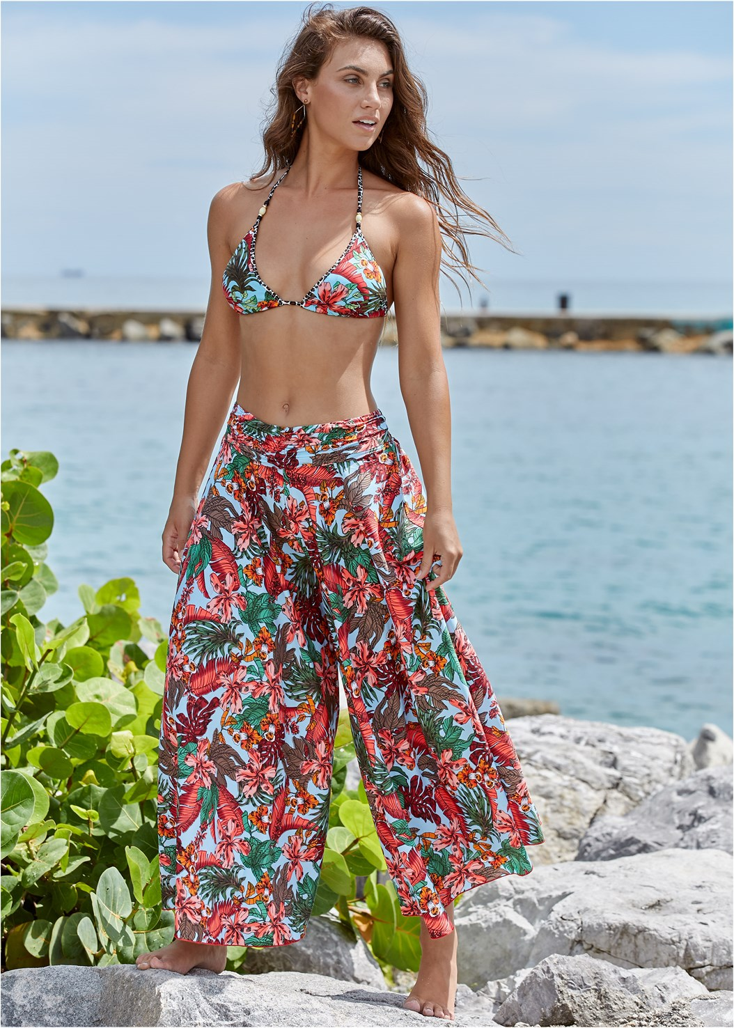 Cover-Up Pants,Beaded Triangle Top,Underwire Bra Top,Underwire Halter Top,Strappy Side Bikini Bottom,Loop Tie Side Bottom,Banded Moderate Bottom