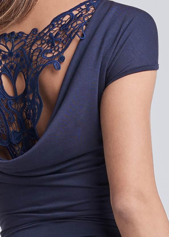 Detail back view Crochet Cowl Back Dress