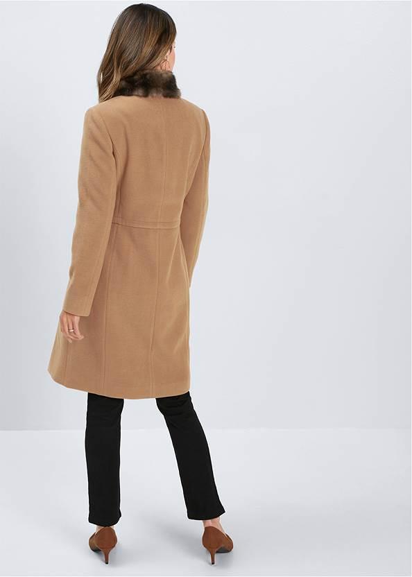 Full back view Faux Fur Detail Coat