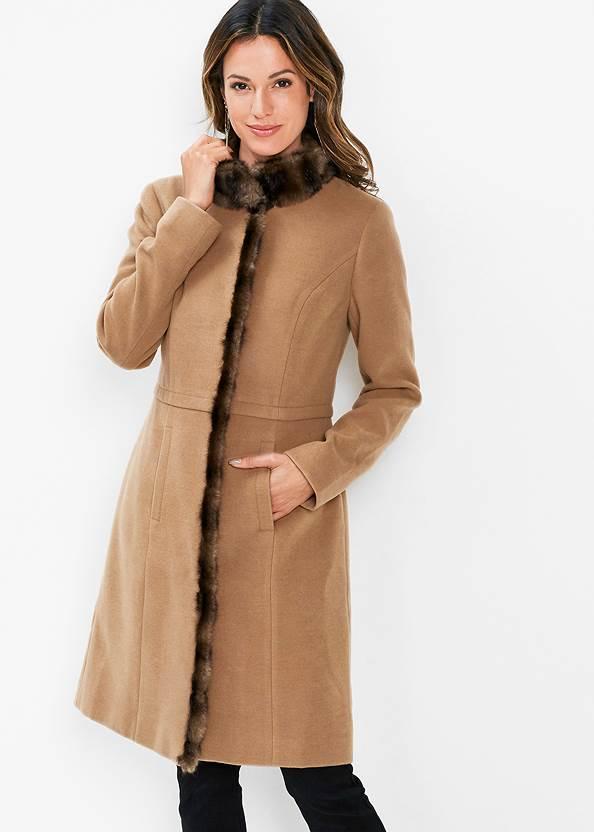 Faux Fur Detail Coat,Basic Cami Two Pack,Faux Leather Pants,Peep Toe Print Heels,Ring Detail Oversized Bag