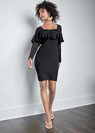 Full Front View Ruffle Sweater Dress